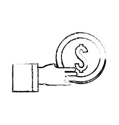 Figure coins money in the hand vector