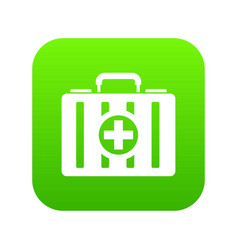 First aid kit icon digital green vector
