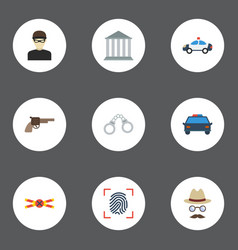 Flat icons thumbprint thief automobile and other vector
