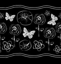 flowers and butterflies-flowers in bloom seamles vector image