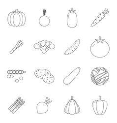 food icons set vegetables symbols line art healthy vector image