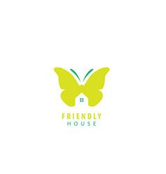 friendly house batterfly design logo vector image