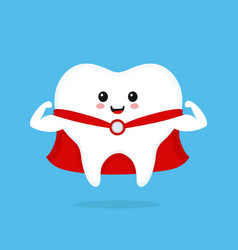 Funny cute smiling super hero tooth vector