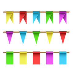 Garlands set multi-colored flags on a straight vector