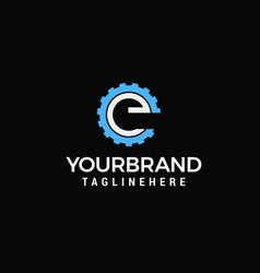 gear logo letter e design template vector image