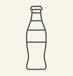 Glass bottle thin line icon soda in bottle vector