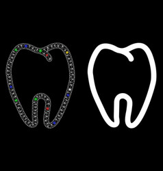 Glowing mesh wire frame tooth icon with light vector