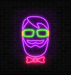 Glowing neon hipster man sign on a dark wall vector