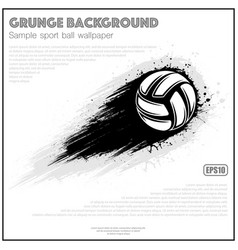 Grunge white volleyball splash moving vector