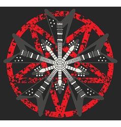 Guitar and Pentagram design vector image