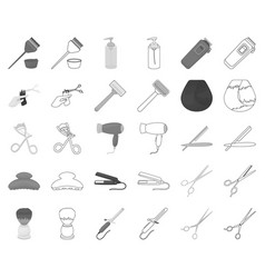 Hairdresser and tools monochromeoutline icons in vector