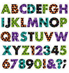 halloween patterns alphabet vector image
