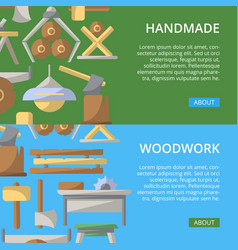 Handmade woodwork posters in flat style vector