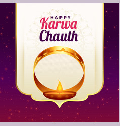 Happy karwa chauth festival card greeting vector