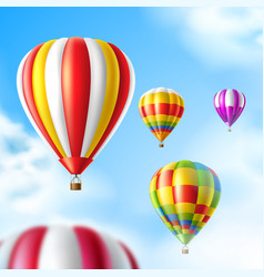hot air balloons on blue sky background vector image