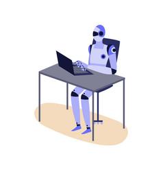 humanoid robot working on laptop - purple cyborg vector image