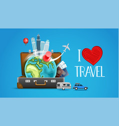 i love travel concept vector image