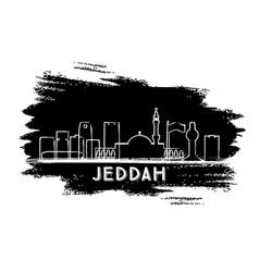 Jeddah saudi arabia city skyline silhouette hand vector