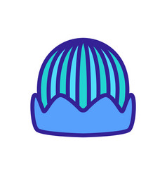 Knitted horizontally hat with lapel icon vector