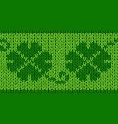 Knitting seamless background with shamrock pattern vector