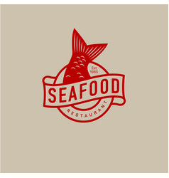 Logo seafood restaurant fish tail vector