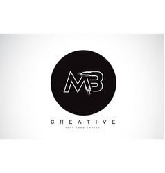 Mb modern leter logo design with black and white vector