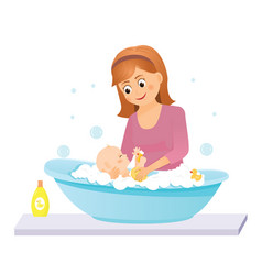 Mom washes the baby in the bathisolated on white vector