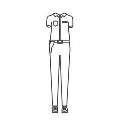 Monochrome silhouette of uniform of policewoman vector