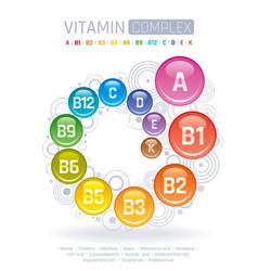 Multi vitamin complex icons vitamin a b group vector