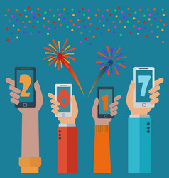 new year 2017 mobile phone apps concept vector image
