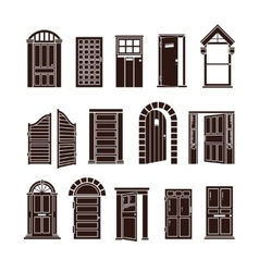 Open and closed door black icons set vector