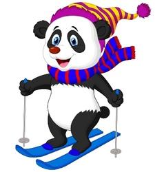 Panda cartoon skiing vector image