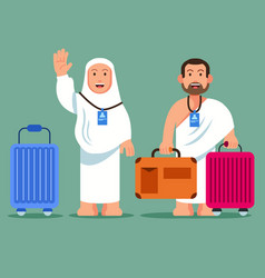 Pilgrims carrying wheeled briefcase vector