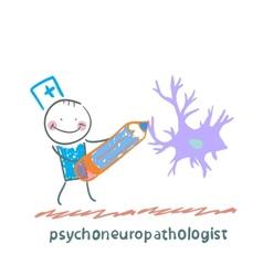 Psychoneuropathologist pencil draws the nerve vector