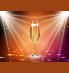 realistic of champagne glasses on gold background vector image