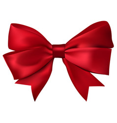 red gift silk ribbon bow isolated on white vector image