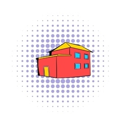 Red house icon comics style vector