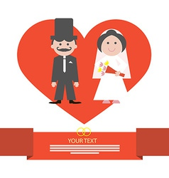 Red Retro Flat Design Wedding Card with Groo vector image