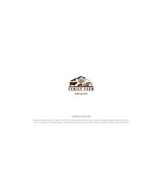 Retro vintage angus cattle with barn and meadow vector