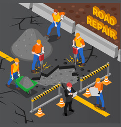 road repair isometric composition vector image