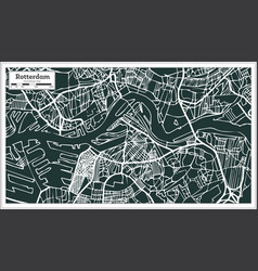 Rotterdam map in retro style hand drawn vector