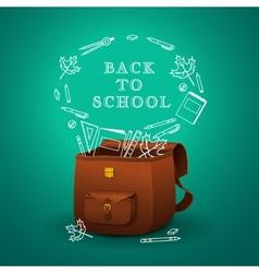 School briefcase vector