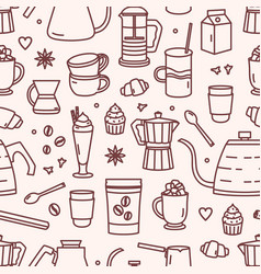 seamless pattern with utensils for coffee brewing vector image