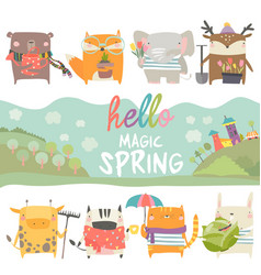 set cute animals with spring theme on white vector image