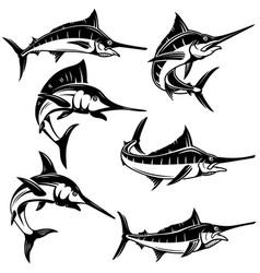 Set marlin swordfish design element for logo vector