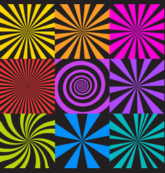 Set of sunburst and spiral backgrounds vector