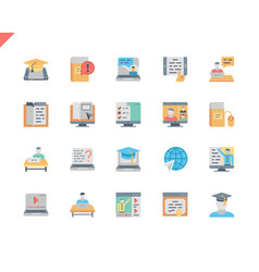 Simple set online education flat icons for website vector