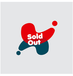 Sold out label template design vector