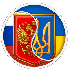 Sticker yin and yang russia and ukraine vector
