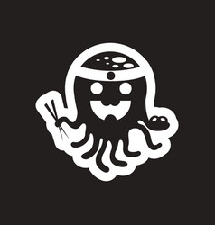 Style black and white icon octopus chef vector